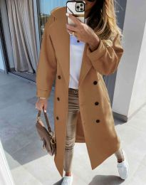 Дълго елегантно дамско палто в кафяво - код 6452