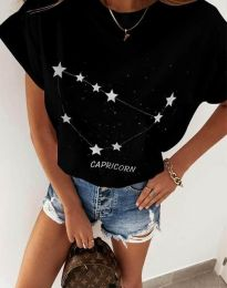 Дамска тениска с принт зодия козирог черно - код 2342