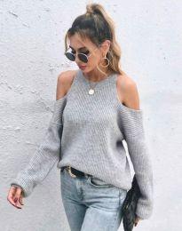 Дамски пуловер с голи рамене в сиво - код 3165