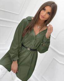 Дълга дамска риза с дълъг ръкав в масленозелено - код 0227