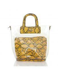 Дамска чанта със змийски десен в жълто с прозрачна външна част - код DD-570