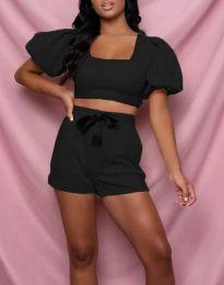 Дамски комплект къс топ и панталонки в черно - код 0851