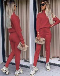 Дамски екип с поло блуза и елегантен спортен панталон в червено - код 6394