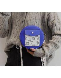 Кръгла  чанта в синьо с преден джоб и дълга дръжка - код B163