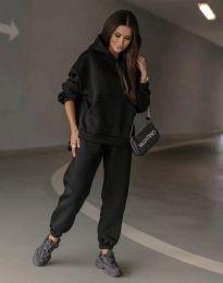 Спортен свободен дамски комплект долнище и суичър с качулка в черно - код 0827