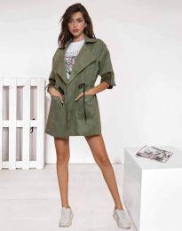 Атрактивно дълго дамско сако от велур в масленозелено - код 8135
