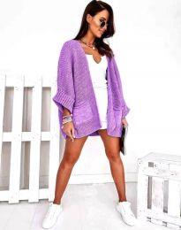 Дамска свободна плетена жилетка в лилаво - код 0553