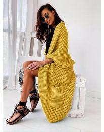 Дълга свободна плетена дамска жилетка в цвят горчица - код 9001