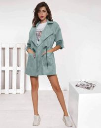 Атрактивно дълго дамско сако велур в цвят мента - код 8135