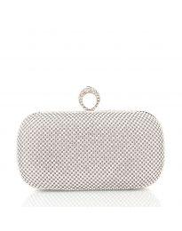 Чанта тип клъч в сребристо с метален корпус и камъни - код CK3315