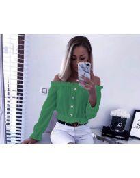 Кокетна дамска риза с паднали рамене в зелено - код 7126