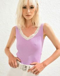 Дамски топ рипс с дантела в лилаво - код 0357