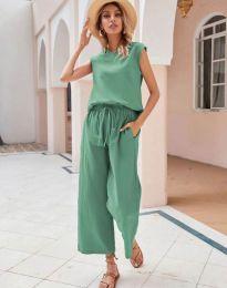 Дамски комплект потник и панталон в зелено - код 0881