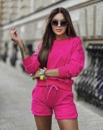 Дамски спортен сет блуза с дълъг ръкав и къси панталони в цвят циклама - код 1057