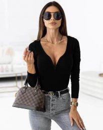 Стилна дамска блуза рипс с дълбоко деколте в черно - код 12048