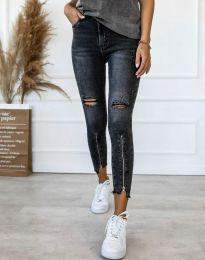 Дамски вталени дънки с ципове в черно - код 3407