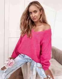 Дамски свободен пуловер с паднало рамо в цвят циклама - код 3255