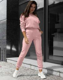 Спортен дамски екип с блуза с дълъг ръкав и голо рамо и долнище в розово - код 2942