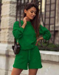 Дамски спортен сет блуза с дълъг ръкав и къси панталони в тъмнозелено - код 1057