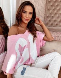 Тениска в розово с принт - код 8312