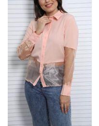 Дамска риза в розово с елементи от тюл - код 0638