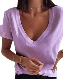 Дамска тениска с ефектни ръкави и остро деколте в лилаво - код 2462