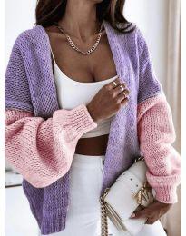 Атрактивна свободна плетена дамска жилетка в розово и лилаво - код 9843 - 6