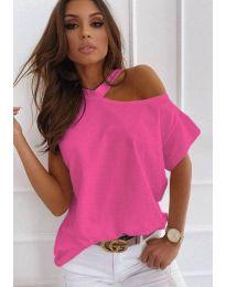 Ефектна дамска тениска с голо рамо в розово - код 0599