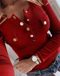 Ефектна дамска блуза рипс с копета в червено - код 11516