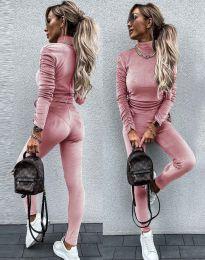 Дамски комплект блуза с поло яка и втален панталон кадифе в цвят пудра - код 4871