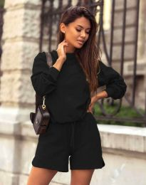Дамски спортен сет блуза с дълъг ръкав и къси панталони в черно - код 1057