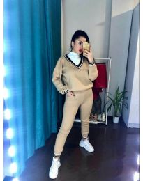 Дамски комплект блуза и панталон в бежово - код 6163