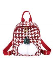 Дамска чанта в червено в пипит и пухен орнамент - код B69