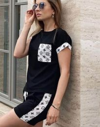 Къс спортен сет тениска и къси панталонки в черно - код 0213
