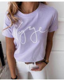Дамска тениска в лилаво с надпис - код 3350