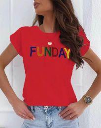 Дамска тениска в червено с надпис - код 2923