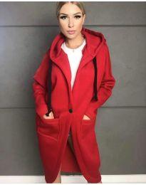 Стилно спортно-елегантно дамско палто с качулка в червено - код 0855