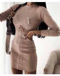 Šaty - kód 4453 - 3 - bežová