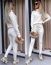 Дамски екип с поло блуза и елегантен спортен панталон в бяло - код 6394