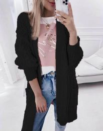 Свободна дълга плетена дамска жилетка в черно - код 2927