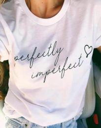 Тениска в бяло с принт - код 4363