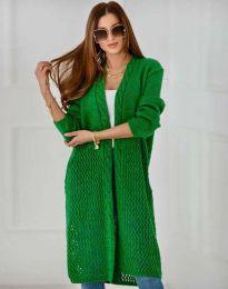 Атрактивна дълга плетена дамска жилетка в зелено - код 7361