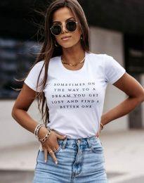 Дамска тениска с надпис в бяло - код 4460