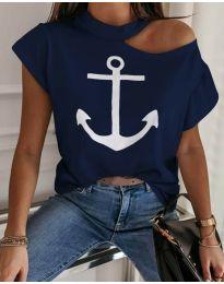 Дамска тениска в синьо с принт - код 18299