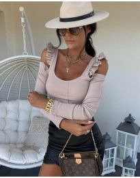 Блуза рипс в светлобежово с ефектни ръкави - код 2380