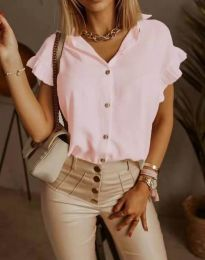Дамска риза къс ръкав с къдрици в розово - код 4136