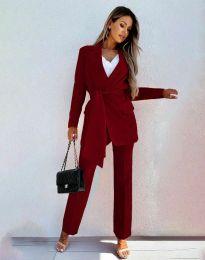 Дамски комплект сако с колан и панталон в цвят бордо - код 0477
