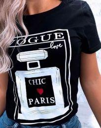 Черна тениска с принт - код 9362