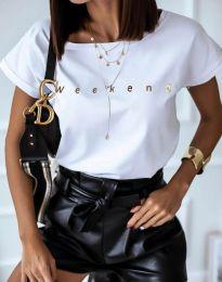 Дамска тениска в бяло с надпис - код 4319