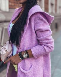 Дълга плетена дамска жилетка с качулка в лилаво - код 6655